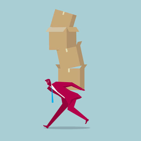 Businessman carrying a stack of cardboard boxes. Isolated blue background. 矢量图像