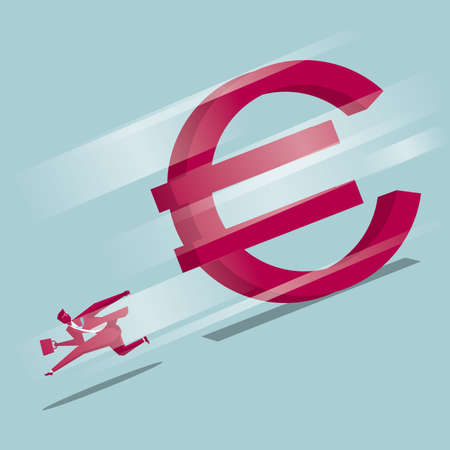 Businessman runs away in a huge euro sign. Isolated on blue background.