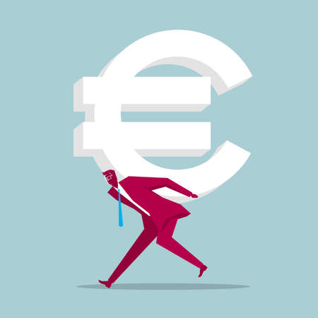 Businessman carries the euro symbol. Isolated on blue background.
