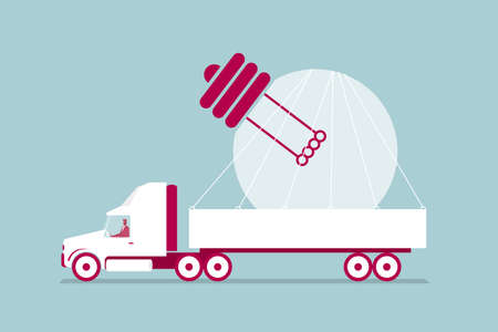 Truck transports light bulbs. Isolated on blue background.
