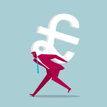Businessman carrying the pound symbol. Isolated on blue background.