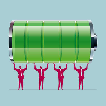 Teamwork concept. A group of businessmen lifted the battery. Isolated on blue background. Illustration