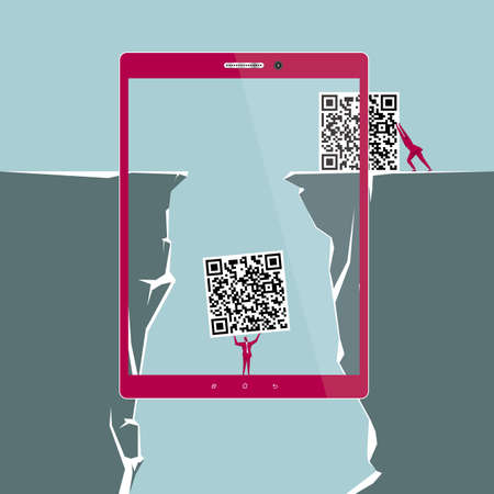 Internet concept design. The businessman carries the QR code. Isolated on blue background.
