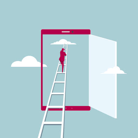 Concept of businessman accessing cloud through the phone. Isolated on blue background.