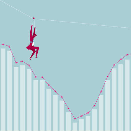 Businessman on flying fox above business graph. Isolated on blue background. Vetores