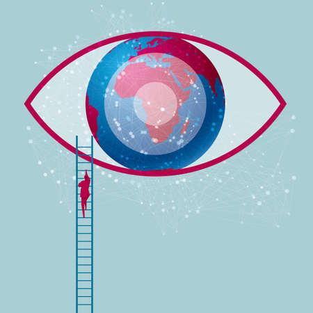 Global vision concept of businessman climbing a ladder towards an eye. Isolated on blue background.