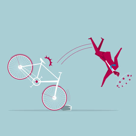 Businessman on bicycle trip over a rock and is falling. Isolated on blue background. Illustration