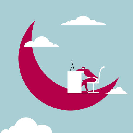 Tired businessman in the moon. Isolated on blue background.