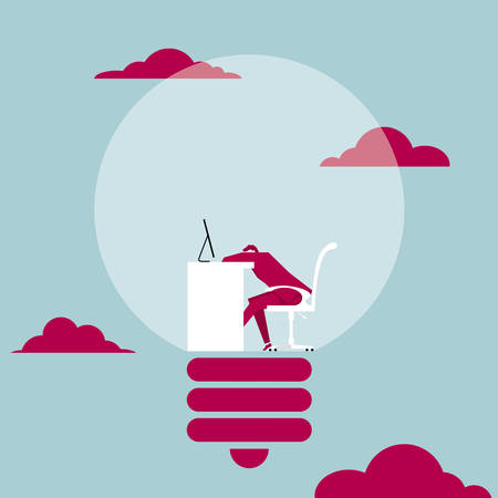 Tired office worker. Dozing off in the light bulb. The background is blue. Ilustração