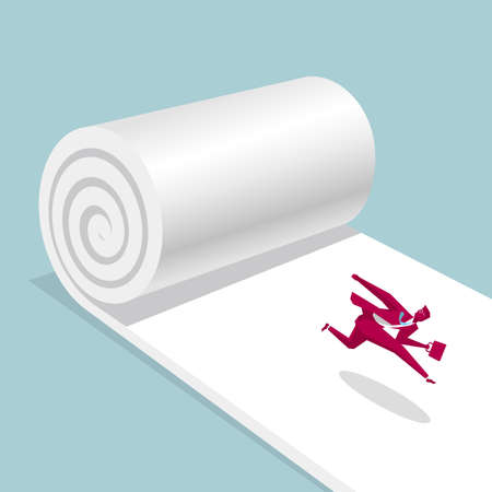 The businessman ran away on the rolled up carpet. Isolated on blue background.
