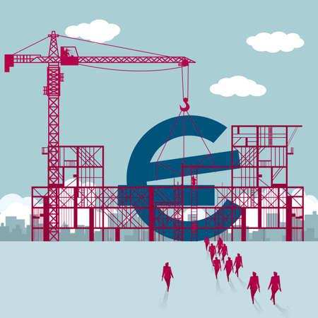 Edificio símbolo del euro Un grupo de empresarios caminó hacia el sitio de construcción.