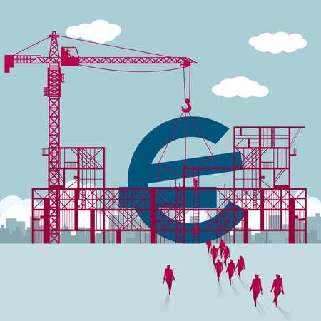 Euro-Symbol bauen. Eine Gruppe von Geschäftsleuten ging zur Baustelle.