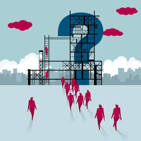 Construction question mark.A group of businessmen walked to the building site.