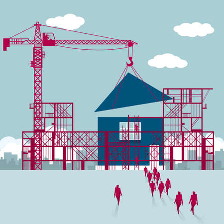 Housing construction.A group of businessmen walked to the building site. Ilustracja
