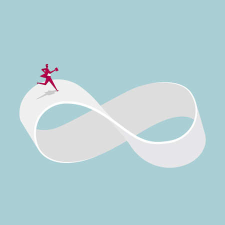 Businessman runs on the infinity symbol. Isolated on blue background.