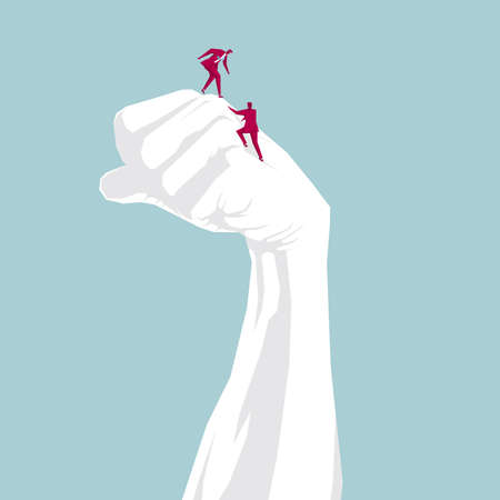 Businessman climbs his fist, isolated on blue background.