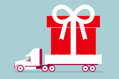 Huge present on a truck. Isolated on blue background.