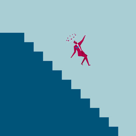 Businessman falling of the stairs. Isolated on blue background.