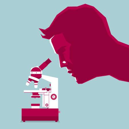 La ricerca scientifica utilizza un microscopio. Isolato su sfondo blu.