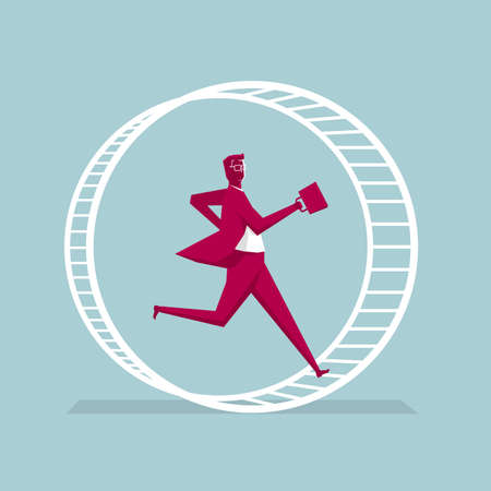 Businessman in a running wheel. Isolated on blue background.