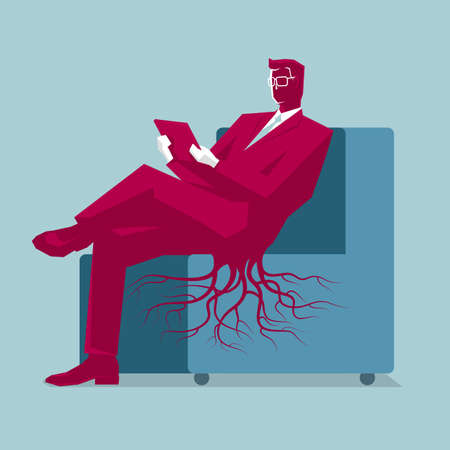 Sedentary businessman concept. Isolated on blue background. Illustration