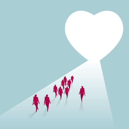 A group of businessmen walking towards a heart-shaped symbol. Isolated on blue background.