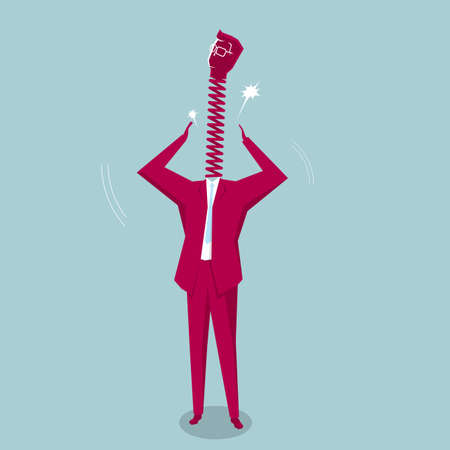 Bsuinessman with a spring neck. Isolated on blue background.