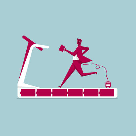 Businessman running on a treadmill. Isolated on blue background.