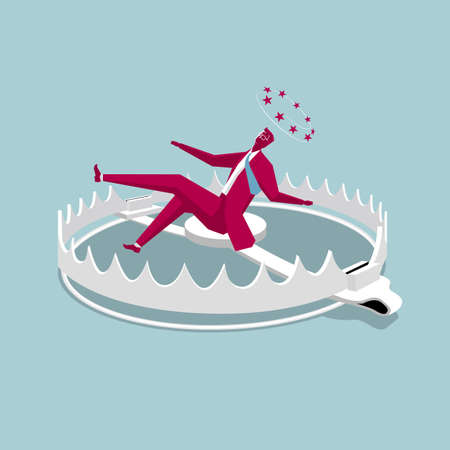 Dizzy businessman falling into a trap. Isolated on blue background. Standard-Bild - 120946654