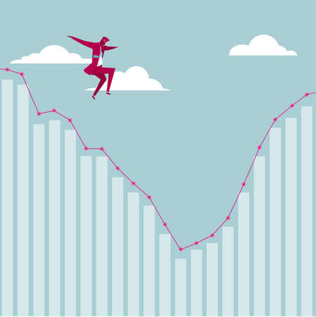 Businessman jumping off from the chart. The background is blue.