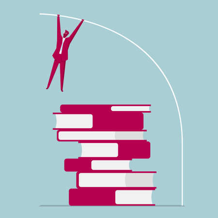 Businessman with pole vault jumping over books. Isolated on blue background.