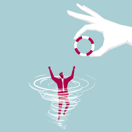 Hand throwing a lifebuoy to businessman who is drowning in the water. Isolated on blue background. Vectores