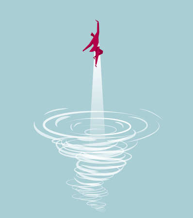 Businessman flying out from a tornado. Isolated on blue background. Vektorové ilustrace