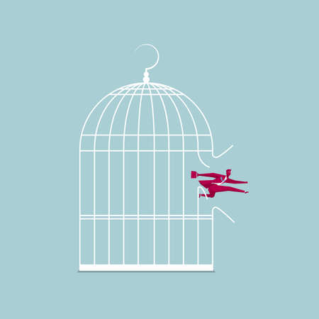 Businessman escaping from a bird cage. Isolated on blue background.