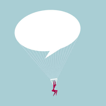 Businessman on a speech bubble parachute. Isolated on blue background.