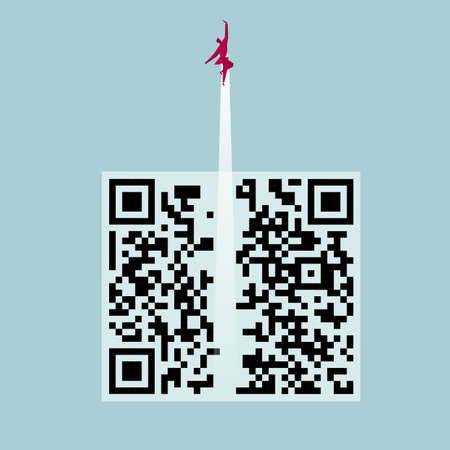 Businessman flying upwards through a QR code. Isolated on blue background.