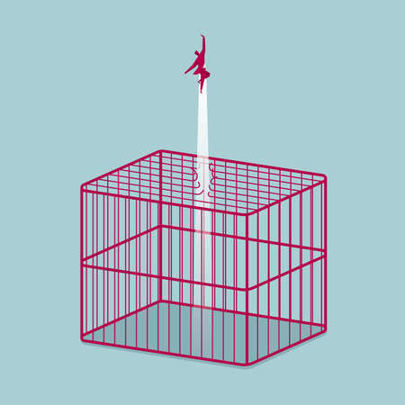 Businessman escaping from a cage. Isolated on blue background.