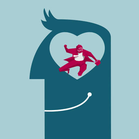 Businessman with heart-shaped brain thinking of rushing for work. Isolated on blue background.