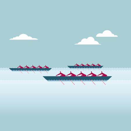 Concept de travail d'équipe - Groupe d'hommes d'affaires dans un match d'aviron.