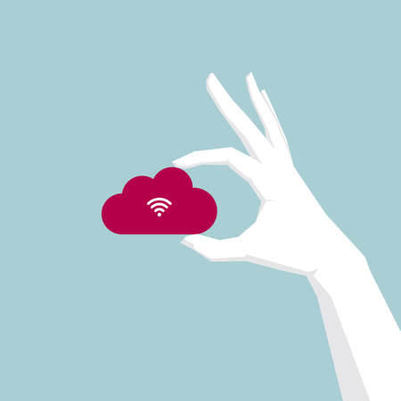 Hand holding cloud symbol with wireless connection. Isolated on blue background.