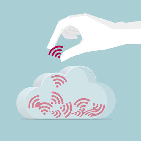 Hand holding wireless signal in a cloud. Isolated on blue background.