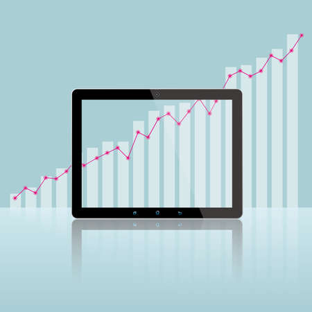 Electronic devices with graph bar and line statistics in the background