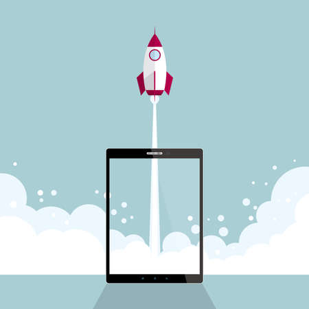 The rocket launching from a tablet. Isolated on blue background. Vectores