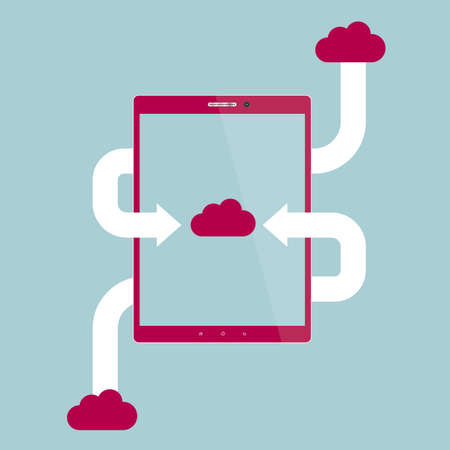 Cloud computing storage concept design, isolated on blue background. Ilustração
