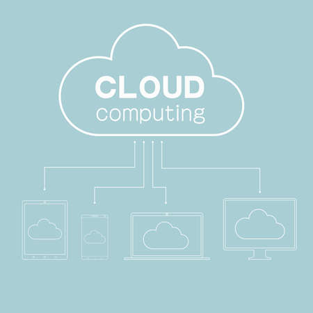 Cloud computing concept isolated on blue background.
