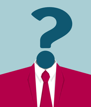 Confused business person concept. Isolated on blue background.