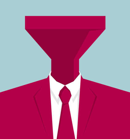 Business person with a funnel head concept design. Isolated on blue background. Illustration
