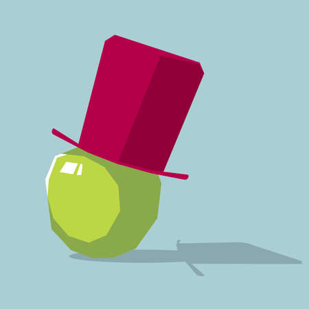 Top hat on an apple. Isolated on blue background.