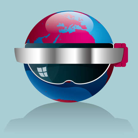 Earth wearing virtual reality goggles. Isolated on blue background.