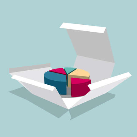 The pie chart in the box. Isolated on blue background. Illustration